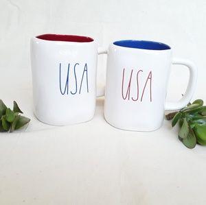 NWT 2 Rae Dunn USA Red White & Blue Mugs